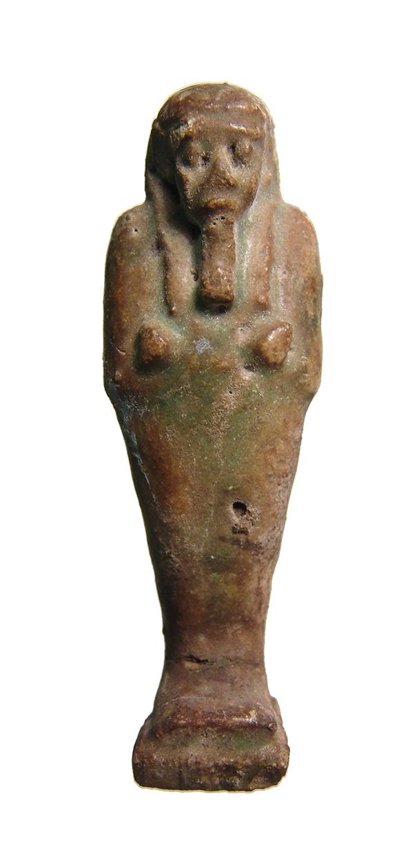 An Egyptian deep green faience ushabti, Late Period