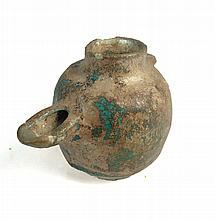 Persian faience glazed oil lamp, Sultanabad