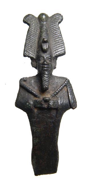 A beautifully detailed Egyptian bronze partial Osiris figurine