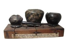 Fantastic trio of Egyptian stone cosmetic vessels