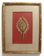A lovely framed Coptic textile element with female