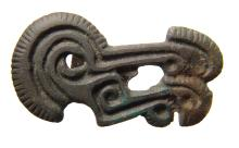 Scythian bronze applique in form of stylized avian head