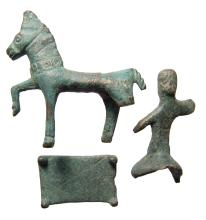 A Thracian votive bronze horse and rider