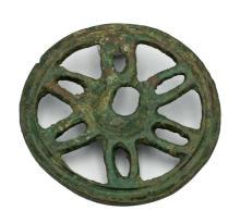 A Roman bronze spoked wheel