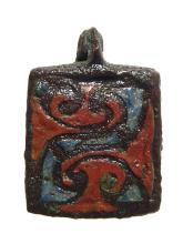 A nice Roman enameled bronze seal box