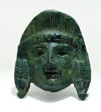 Wonderful Roman bronze theater mask applique
