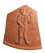 Roman red-ware plate fragment with Adam, Genesis