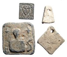 A lot of 4 ancient lead and bronze weights
