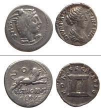 A pair of Roman silver coins