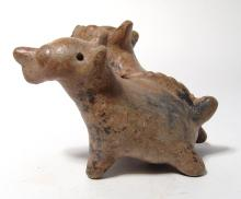 A charming Jalisco double-headed dog rattle