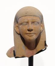 Fantastic Egyptian painted limestone head of an ushabti