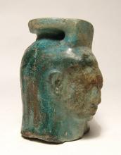 An Egyptian turquoise glazed composition aryballos