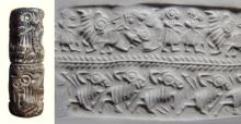 Wonderful steatite double register Ur III cylinder seal