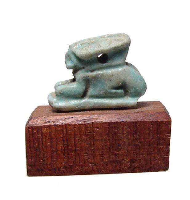 A Nice Egyptian turquoise glazed faience hare amulet