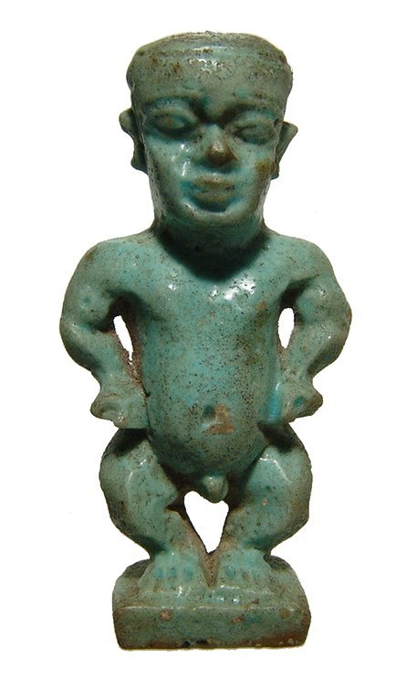 Fantastic Egyptian green glazed amulet of Pataikos
