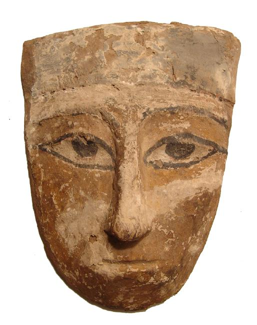 A large and colorful Egyptian wooden 'mummy' mask