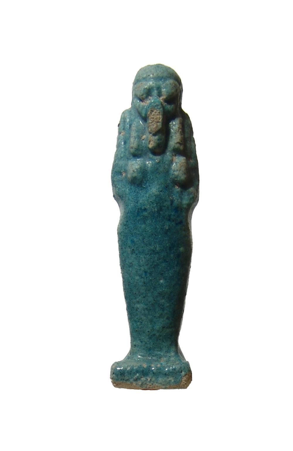 An Egyptian faience blue glazed ushabti