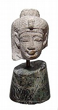 An Egyptian alabaster head of a goddess