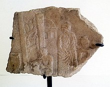 Roman marble relief depicting a potter's shop