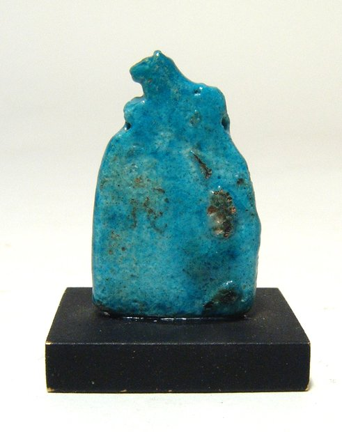 Egyptian turquoise faience amulet depicting the head of a go for Faience turquoise