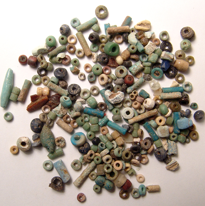A Group Of 200 Egyptian Multicolored Faience Beads