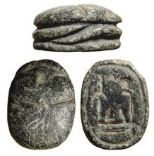 Egyptian grey steatite scarab, Late New Kingdom
