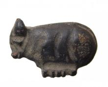 Egyptian red/black stone amulet of a trussed ox
