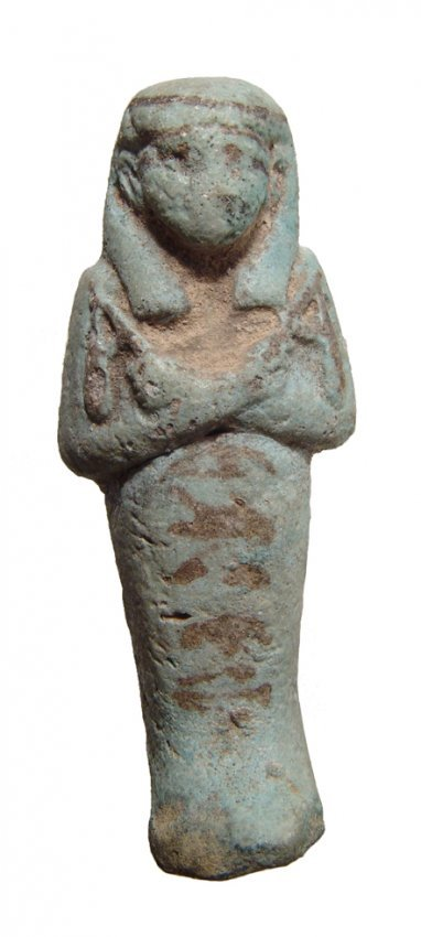 Egyptian bicolor faience ushabti, 3rd Intermed. Period