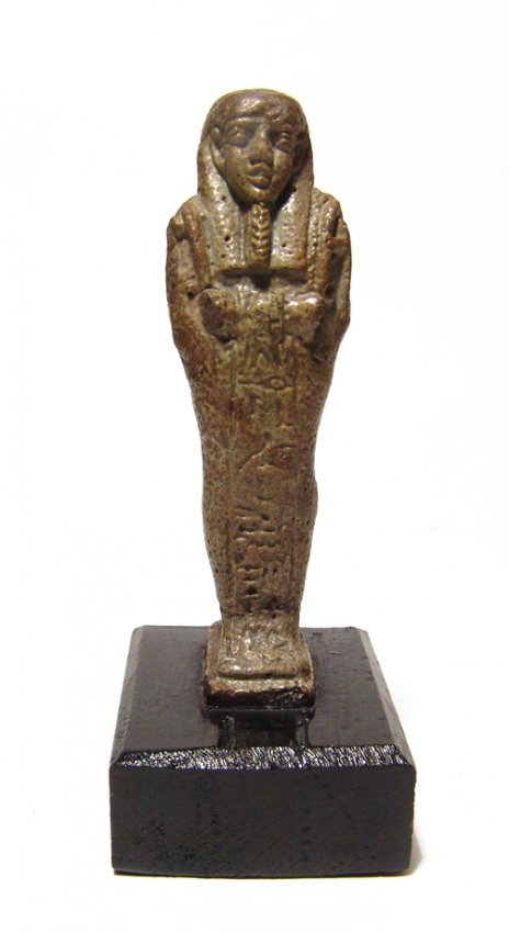 Egyptian faience green glazed ushabti, Late Period