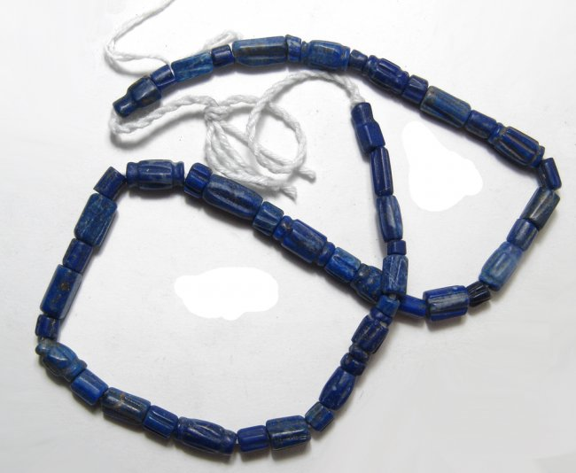 A strand of lapis lazuli beads, Central Asia