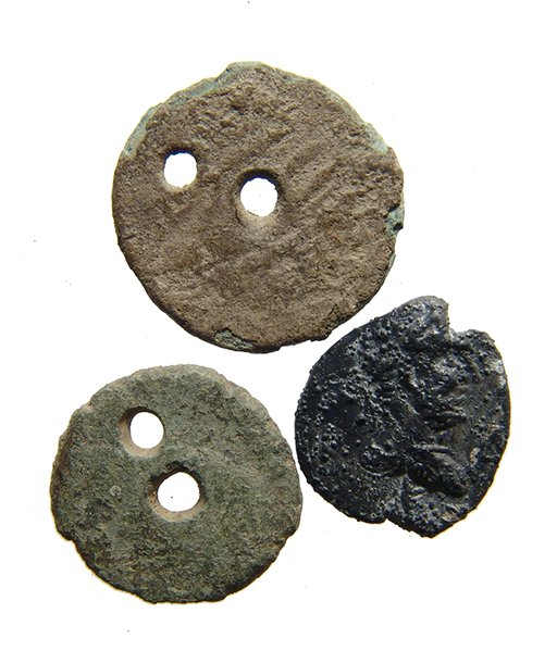 A lot of 2 Roman coins turned into button