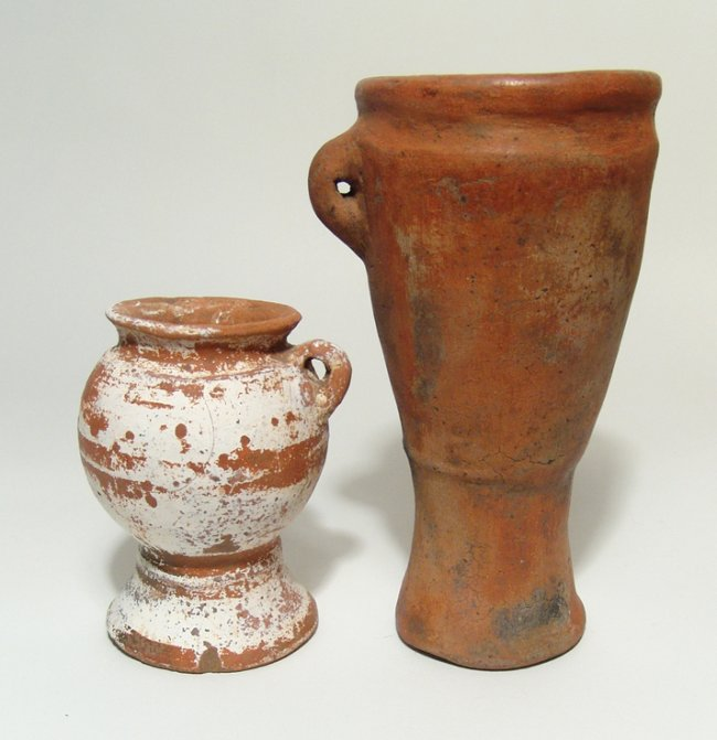 A pair of ceramic finger drums from Costa Rica
