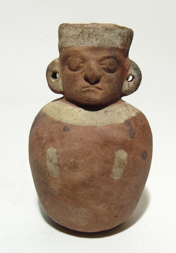 Pre-Columbian ceramic jug in form of seated lord