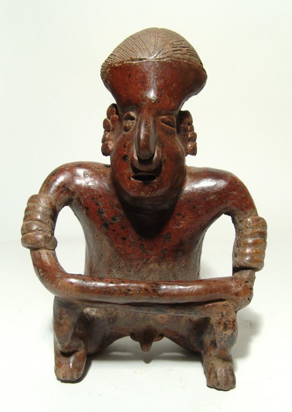 Nice Nayarit figure of a seated man, West Mexico
