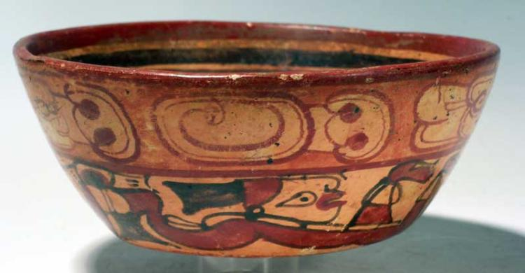 Maya Underworld Swimmers bowl from El Tazumal