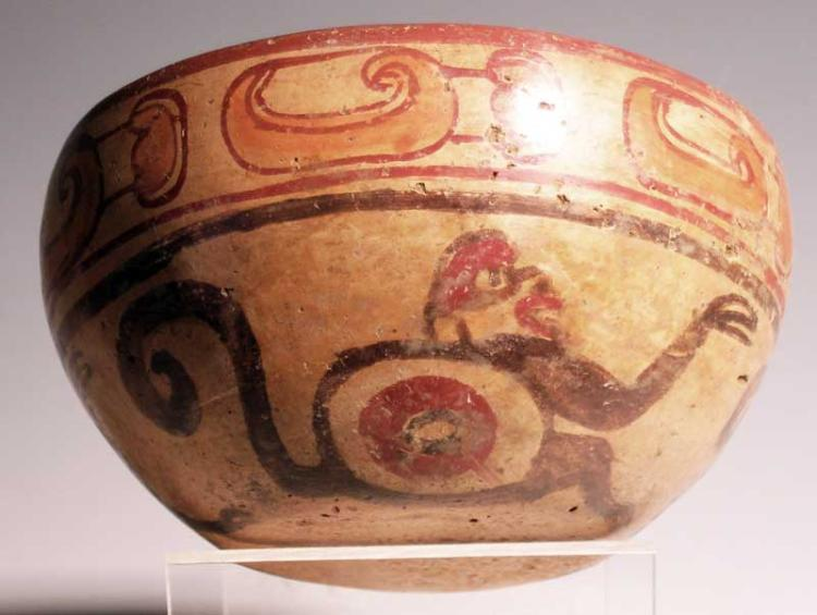 Excellent Maya polychrome bowl from El Salvador