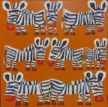 Christophe JEHAN (1961). Les zèbres. Huile sur toile signée en bas à droite. 80 x 80 cm