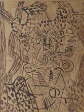 Louis LATAPIE (1891-1972). Composition. Encre de Chine signée en bas à droite. 40 x 31 cm