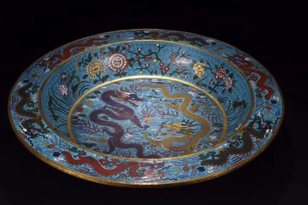 CHINESE CLOISONNE DRAGON BASIN