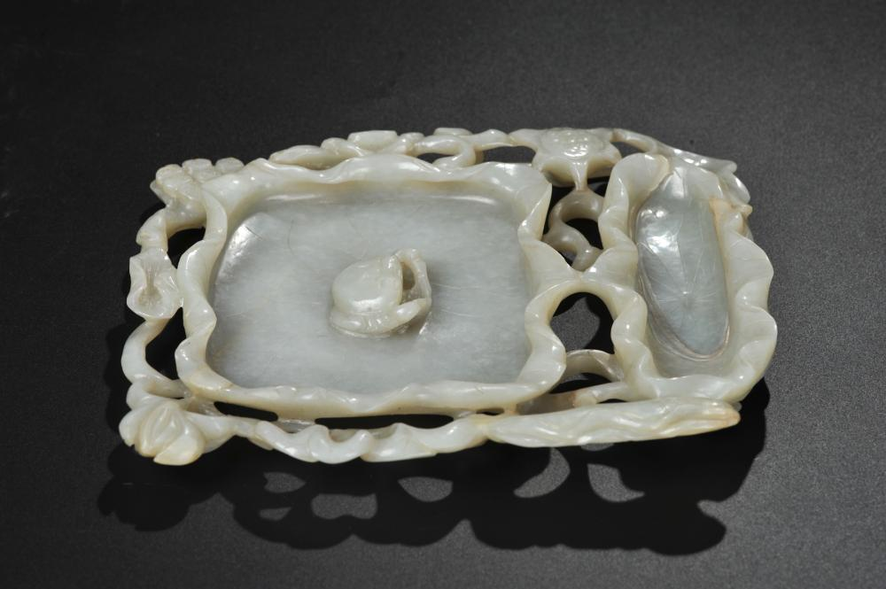 CHINESE WHITE JADE LOTUS BRUSH WASHER, MING DYNAST