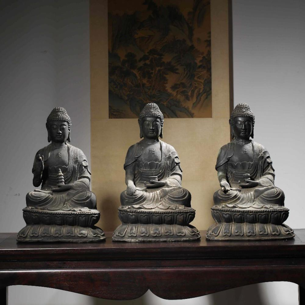 CHINESE BRONZE FIGURES OF BUDDHA, SET OF 3