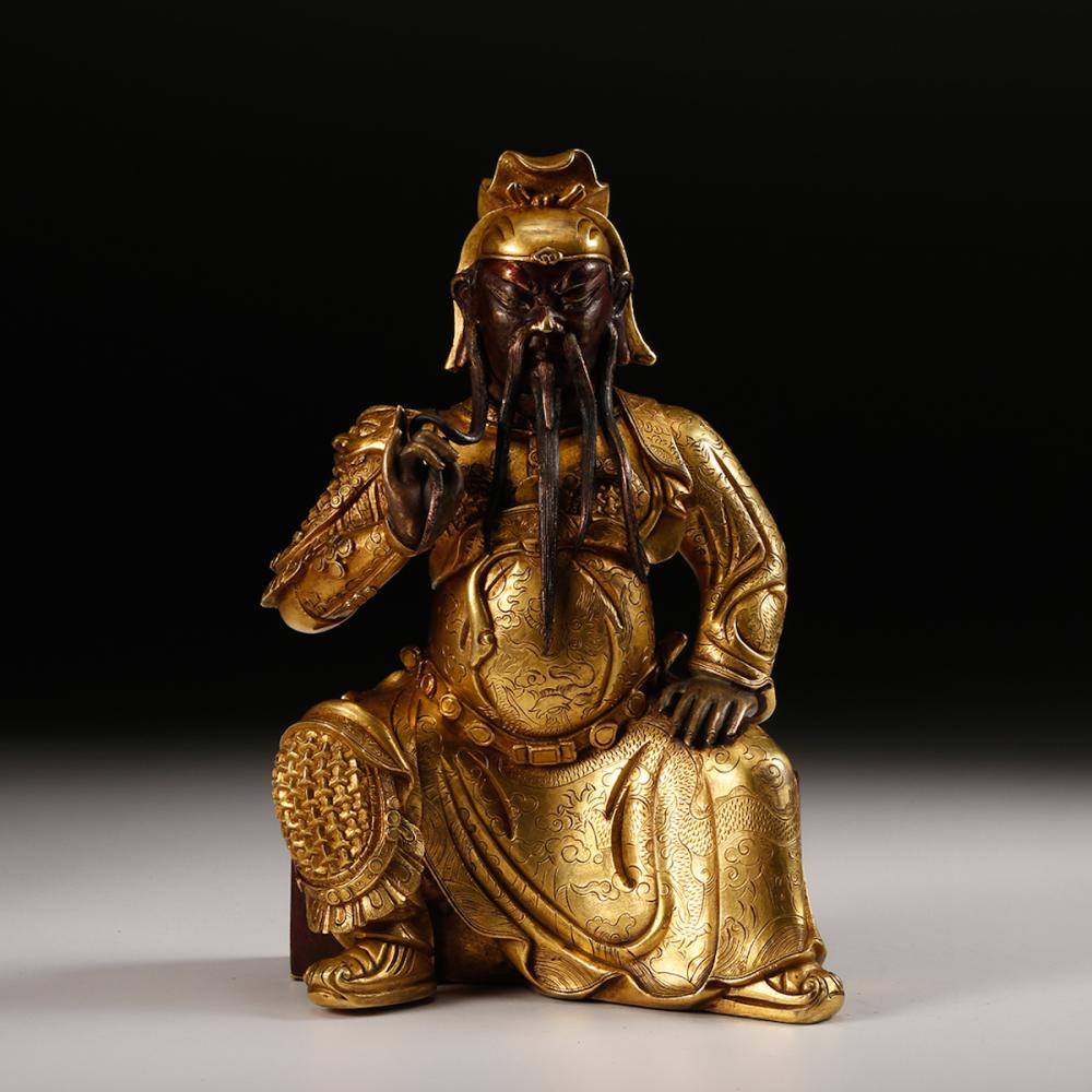 CHINESE GILT BRONZE FIGURE OF GUANDI