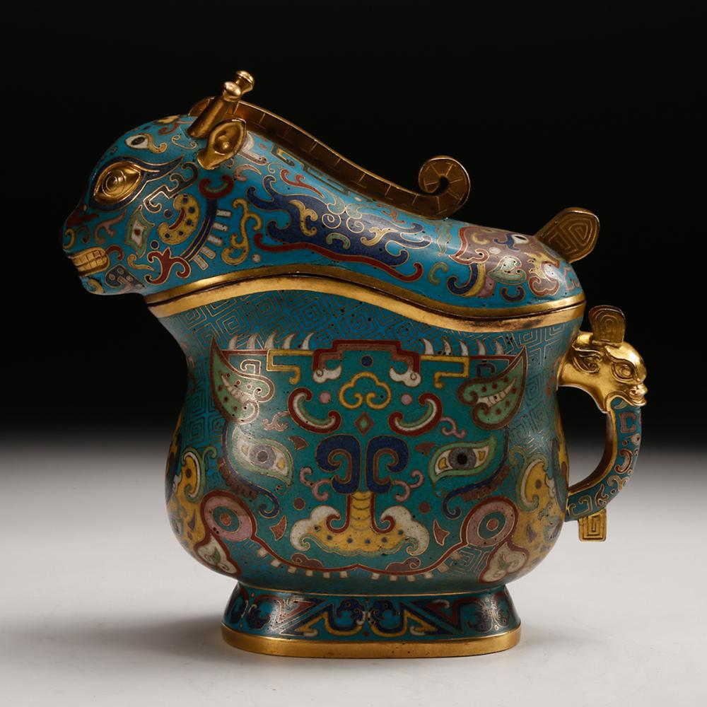 CHINESE CLOISONNE BEAST FOOD VESSEL