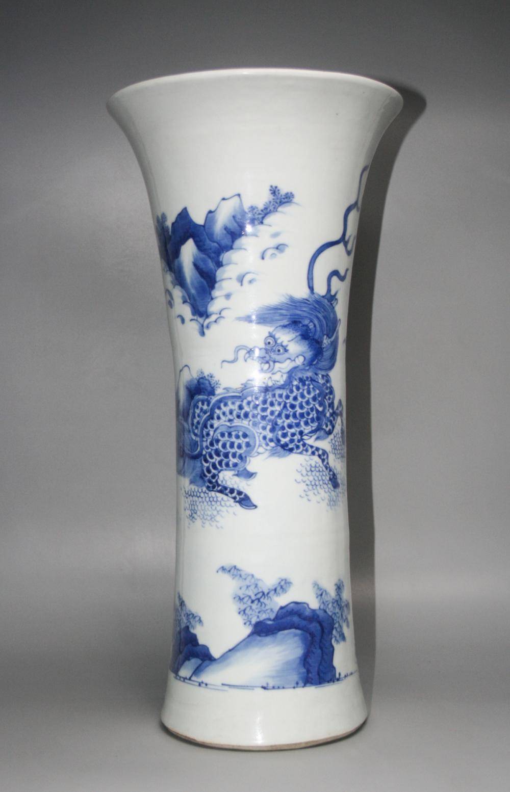 CHINESE BLUE WHITE GU VASE