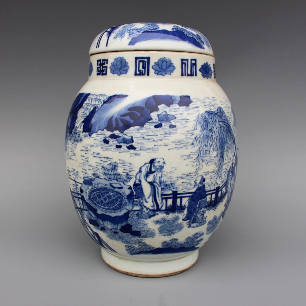 CHINESE BLUE WHITE PORCELAIN COVER JAR