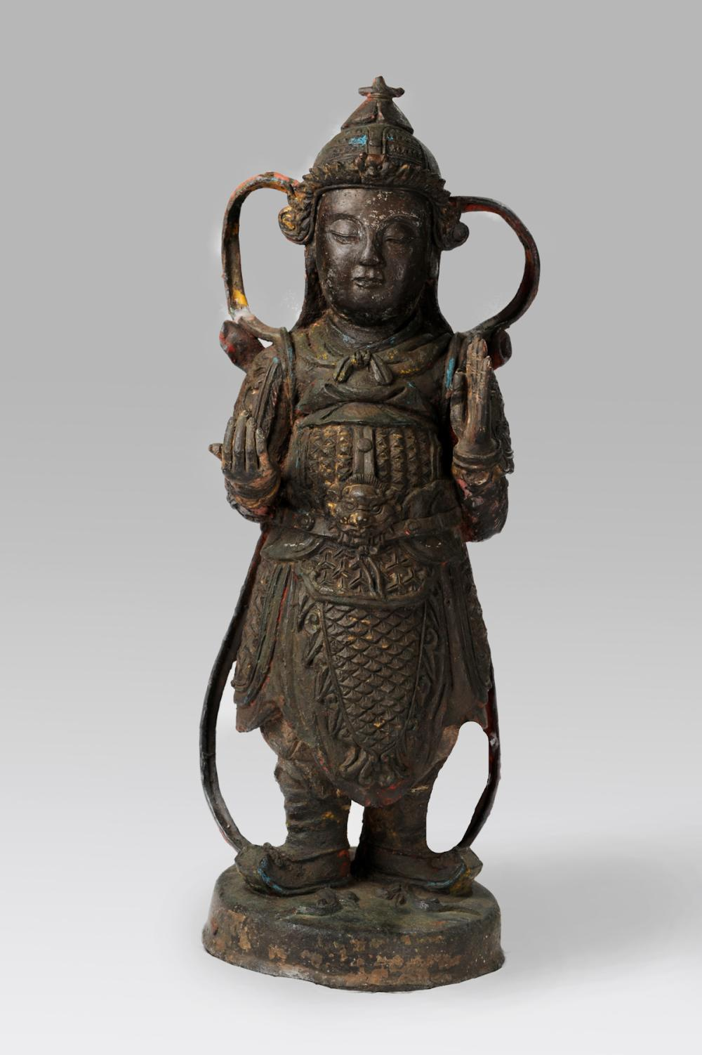 CHINESE BRONZE FIGURE OF WEITUO, MING DYNASTY