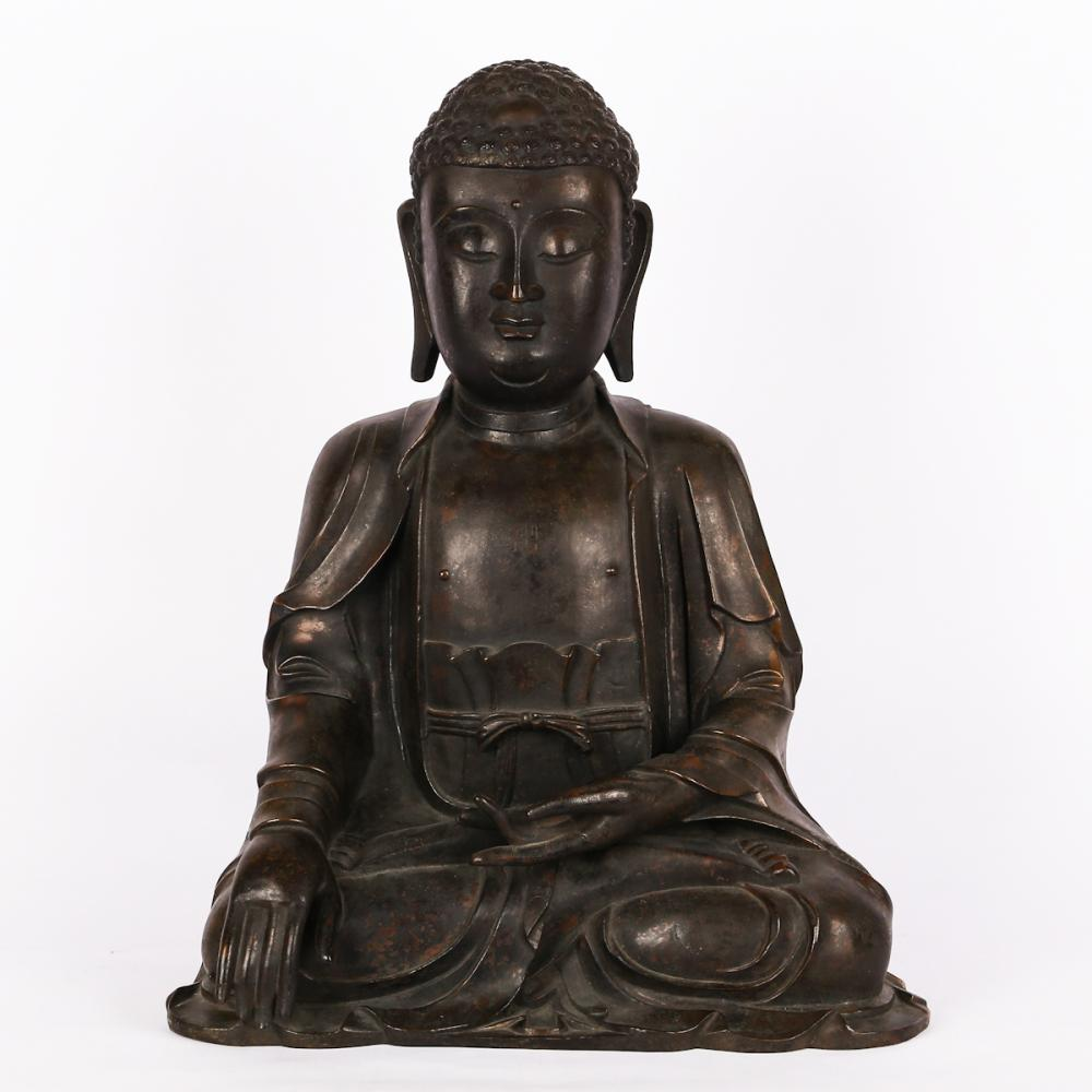 CHINESE MING DYNASTY BRONZE FIGURE OF SHAKYAMUNI