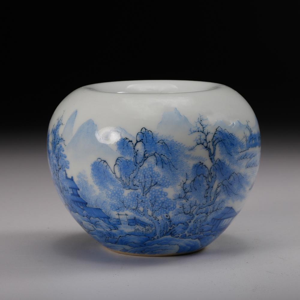 CHINESE BLUE WHITE PORCELAIN WATER COUPE