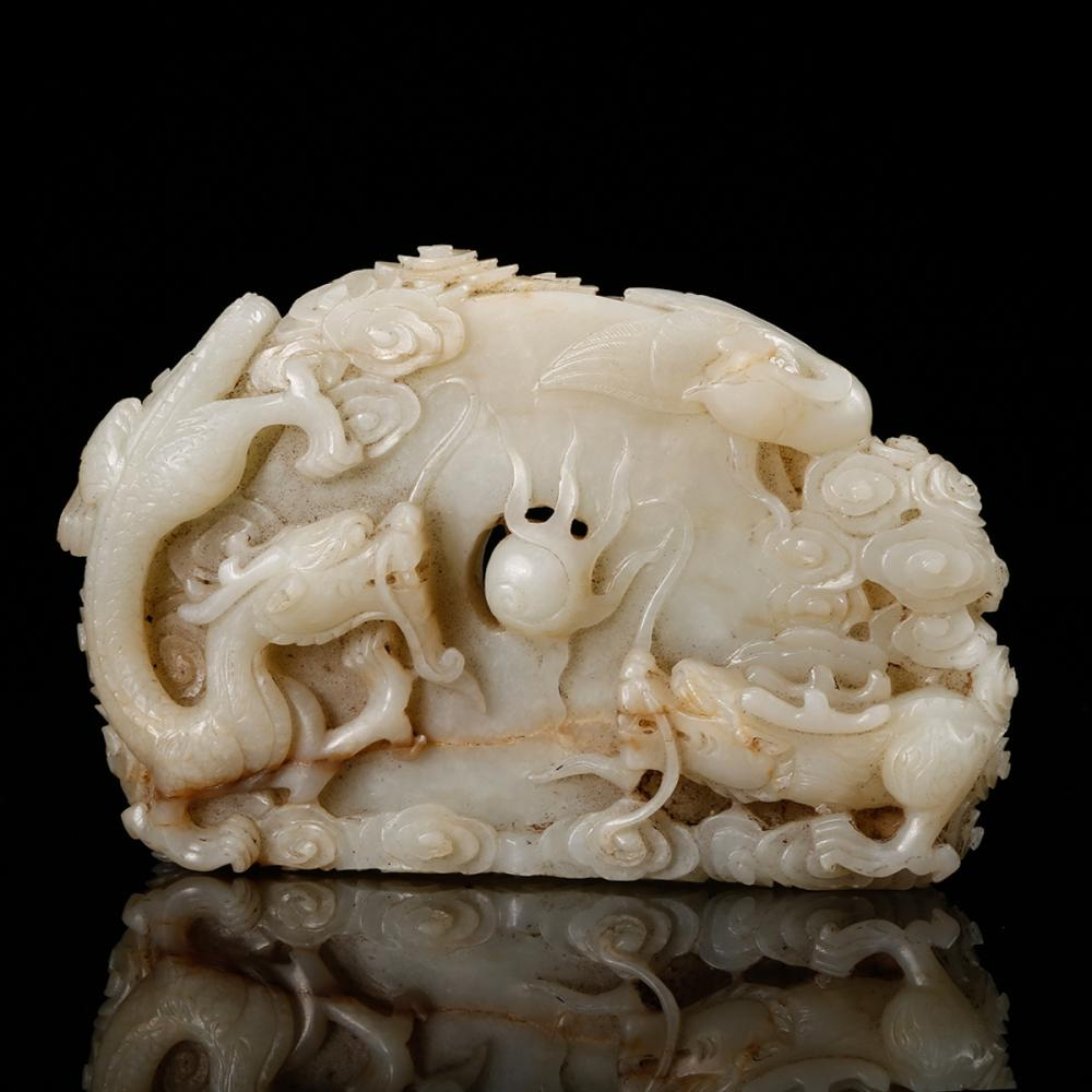 CHINESE WHITE JADE BOULDER CARVED DRAGONS