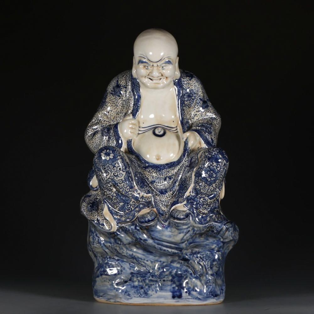 CHINESE BLUE WHITE PORCELAIN LOHAN